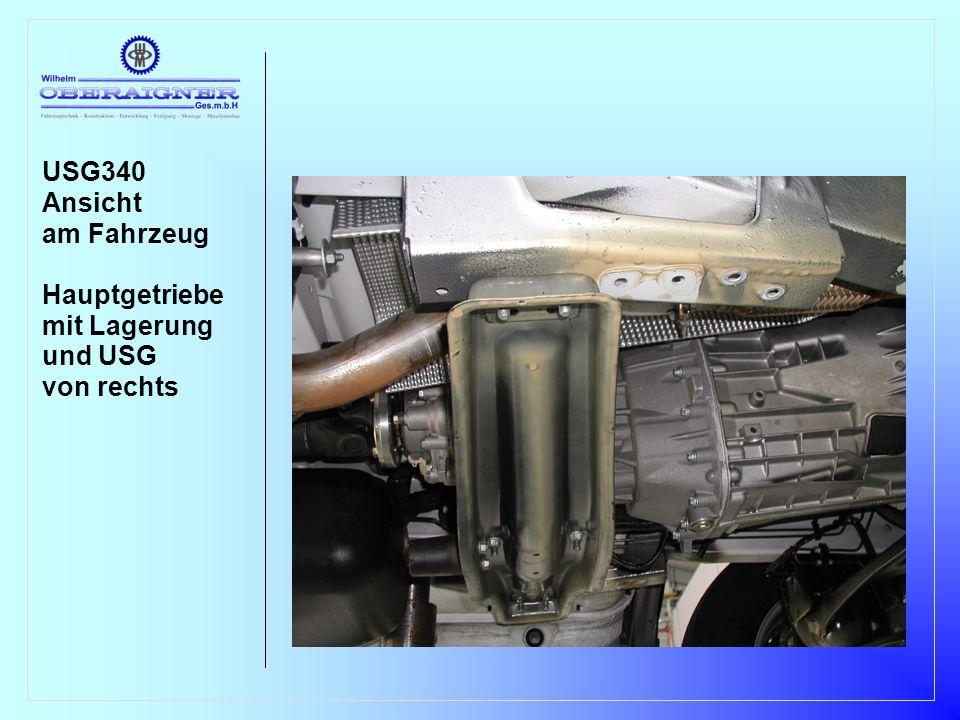 USG340 Ansicht am Fahrzeug Hauptgetriebe mit Lagerung und USG von rechts