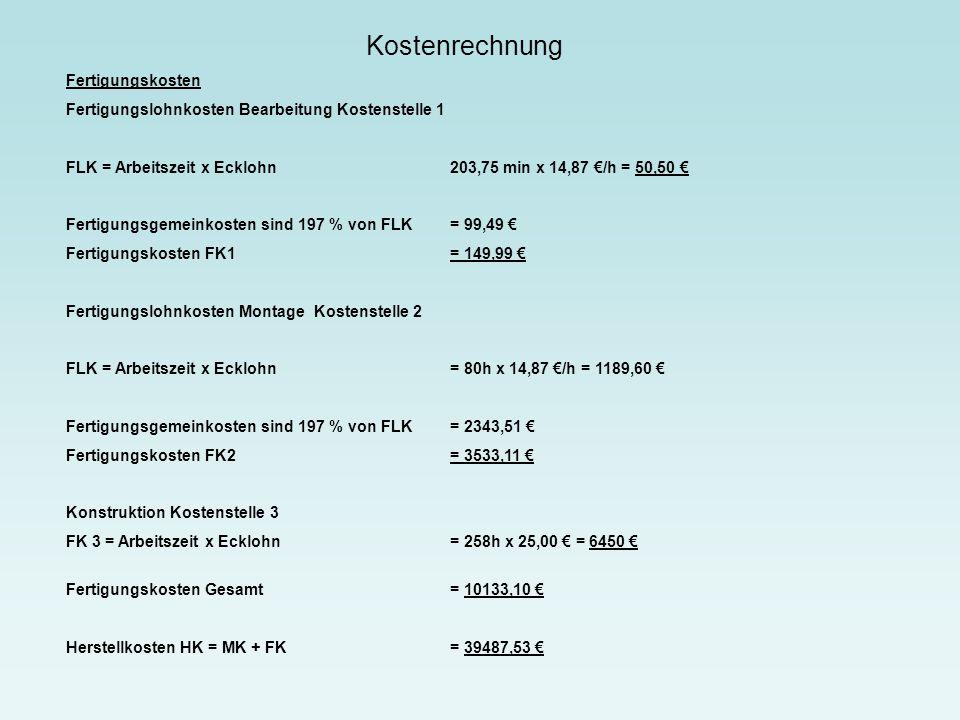 Kostenrechnung Fertigungskosten Fertigungslohnkosten Bearbeitung Kostenstelle 1 FLK = Arbeitszeit x Ecklohn203,75 min x 14,87 €/h = 50,50 € Fertigungs