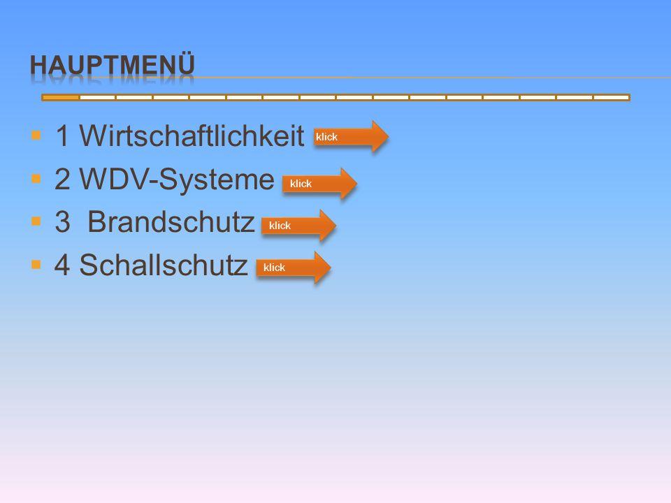  1 Wirtschaftlichkeit  2 WDV-Systeme  3 Brandschutz  4 Schallschutz klick