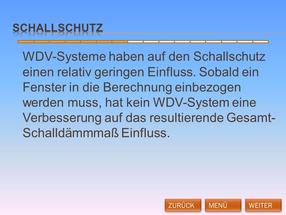 WDV-Systeme haben auf den Schallschutz einen relativ geringen Einfluss. Sobald ein Fenster in die Berechnung einbezogen werden muss, hat kein WDV-Syst