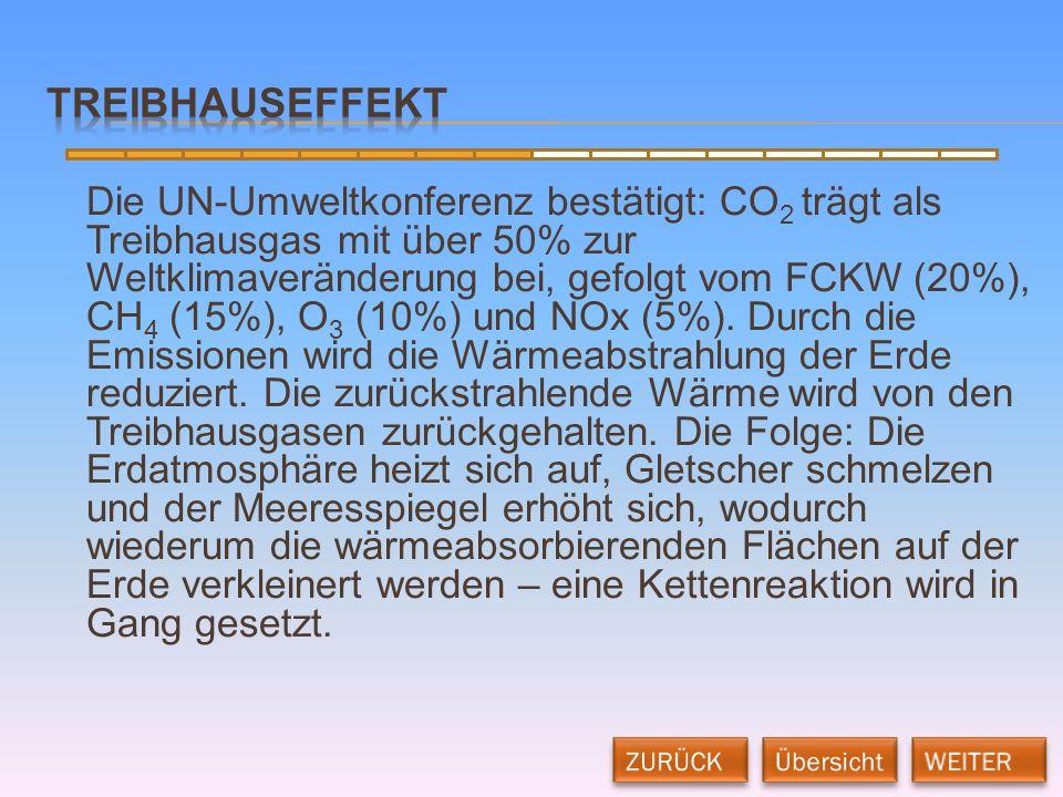 Die UN-Umweltkonferenz bestätigt: CO 2 trägt als Treibhausgas mit über 50% zur Weltklimaveränderung bei, gefolgt vom FCKW (20%), CH 4 (15%), O 3 (10%)