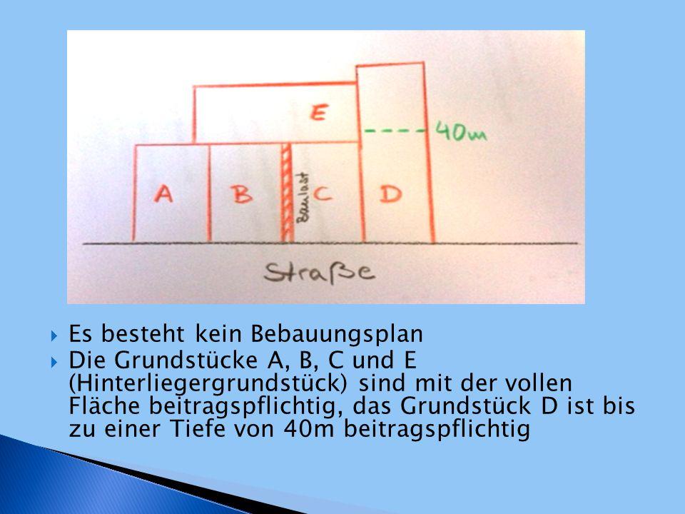  Es besteht kein Bebauungsplan  Die Grundstücke A, B, C und E (Hinterliegergrundstück) sind mit der vollen Fläche beitragspflichtig, das Grundstück