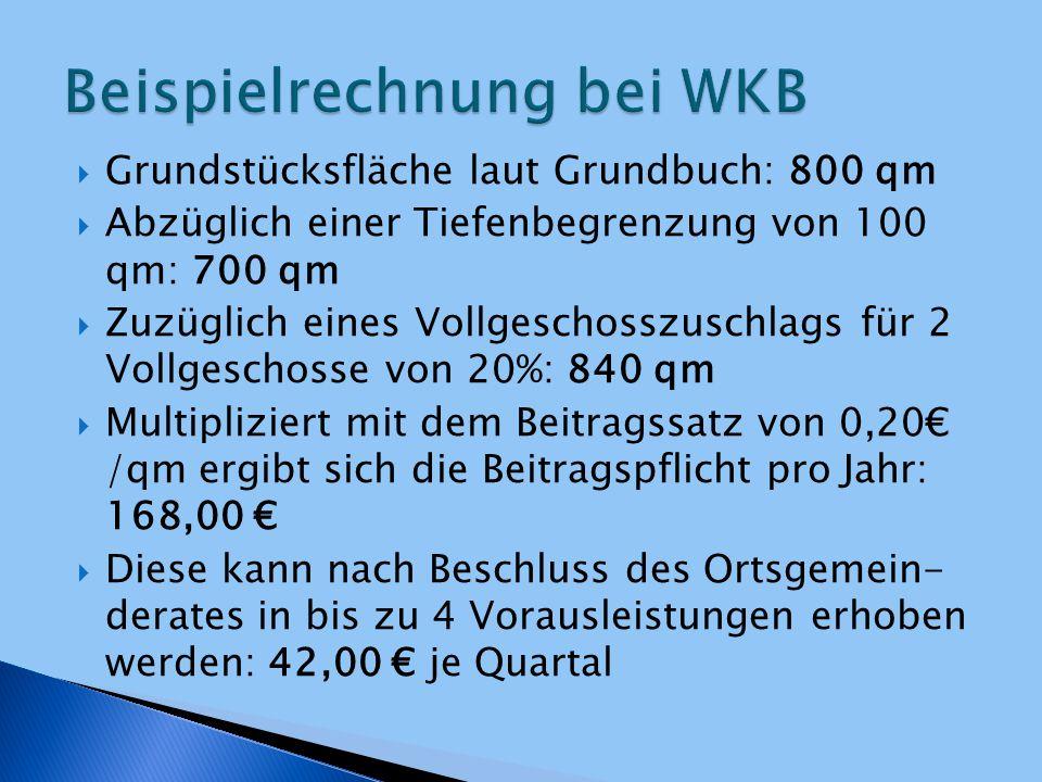  Grundstücksfläche laut Grundbuch: 800 qm  Abzüglich einer Tiefenbegrenzung von 100 qm: 700 qm  Zuzüglich eines Vollgeschosszuschlags für 2 Vollges