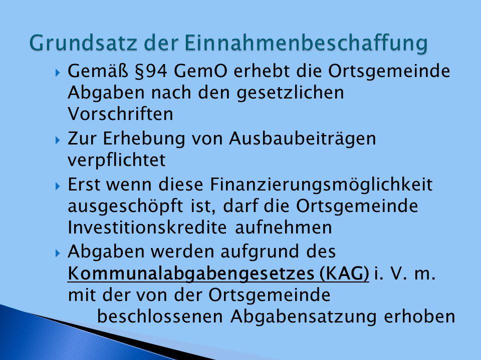  Gemäß §94 GemO erhebt die Ortsgemeinde Abgaben nach den gesetzlichen Vorschriften  Zur Erhebung von Ausbaubeiträgen verpflichtet  Erst wenn diese
