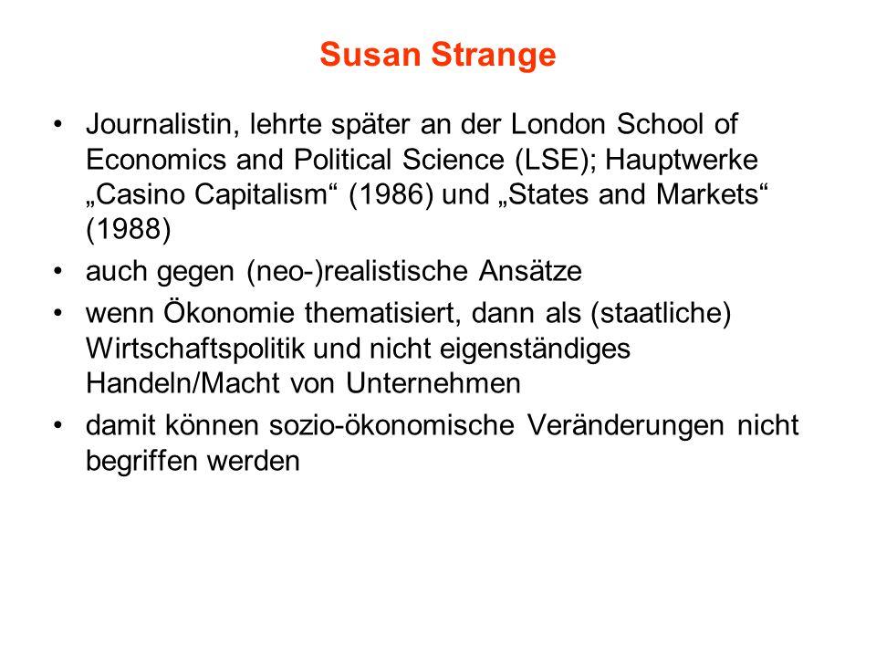 """Susan Strange Journalistin, lehrte später an der London School of Economics and Political Science (LSE); Hauptwerke """"Casino Capitalism"""" (1986) und """"St"""