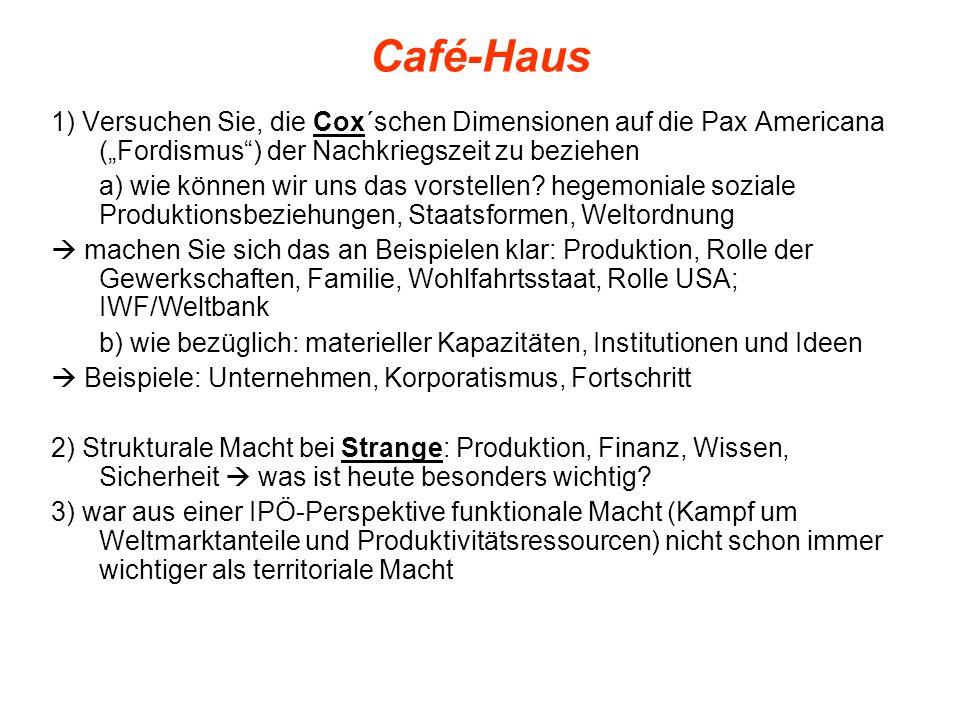 """Café-Haus 1) Versuchen Sie, die Cox´schen Dimensionen auf die Pax Americana (""""Fordismus ) der Nachkriegszeit zu beziehen a) wie können wir uns das vorstellen."""
