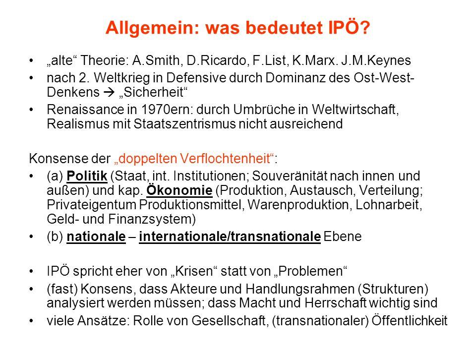"""Allgemein: was bedeutet IPÖ? """"alte"""" Theorie: A.Smith, D.Ricardo, F.List, K.Marx. J.M.Keynes nach 2. Weltkrieg in Defensive durch Dominanz des Ost-West"""