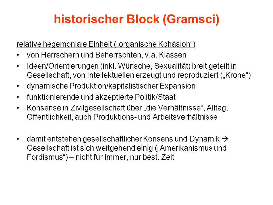 """historischer Block (Gramsci) relative hegemoniale Einheit (""""organische Kohäsion ) von Herrschern und Beherrschten, v.a."""