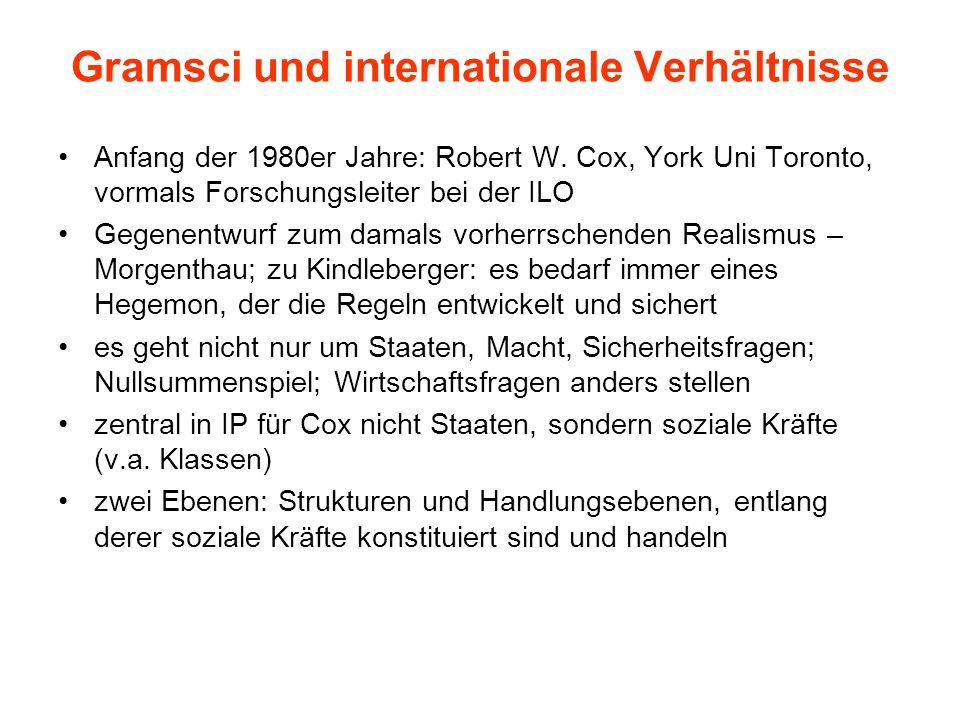Gramsci und internationale Verhältnisse Anfang der 1980er Jahre: Robert W.