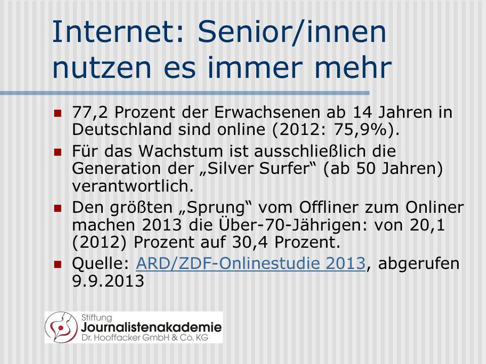 Wer ist online.2013 sind es 77,2 Prozent.