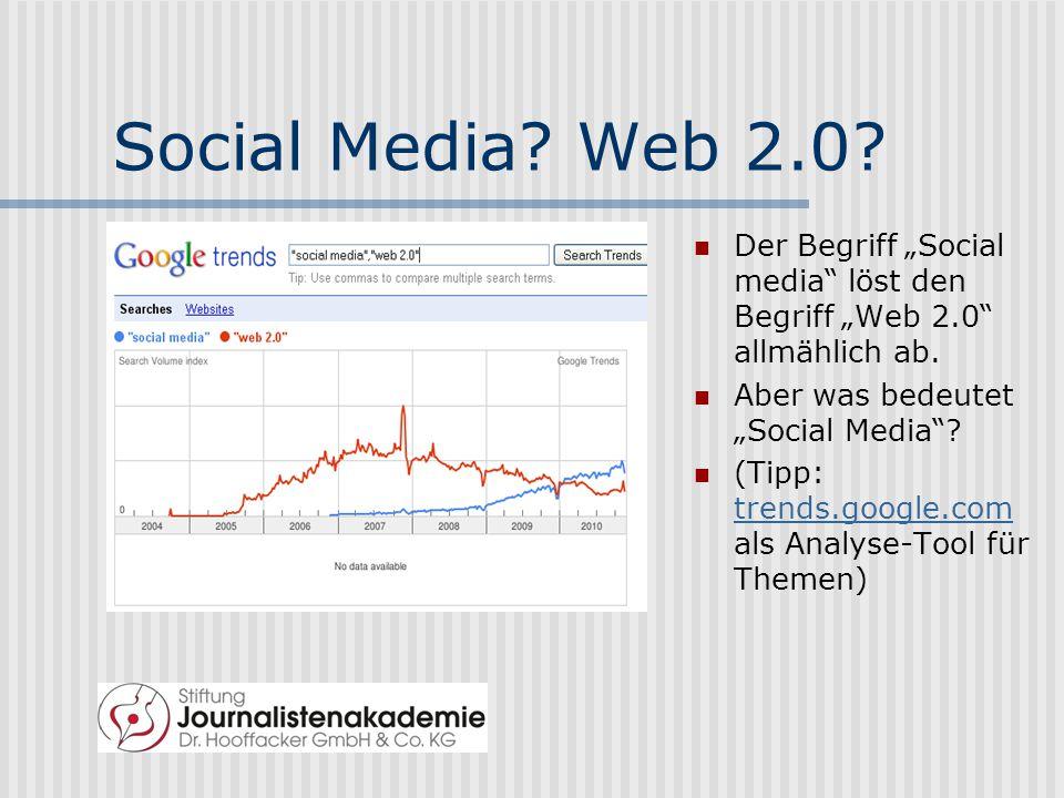 """Social Media.Web 2.0. Der Begriff """"Social media löst den Begriff """"Web 2.0 allmählich ab."""