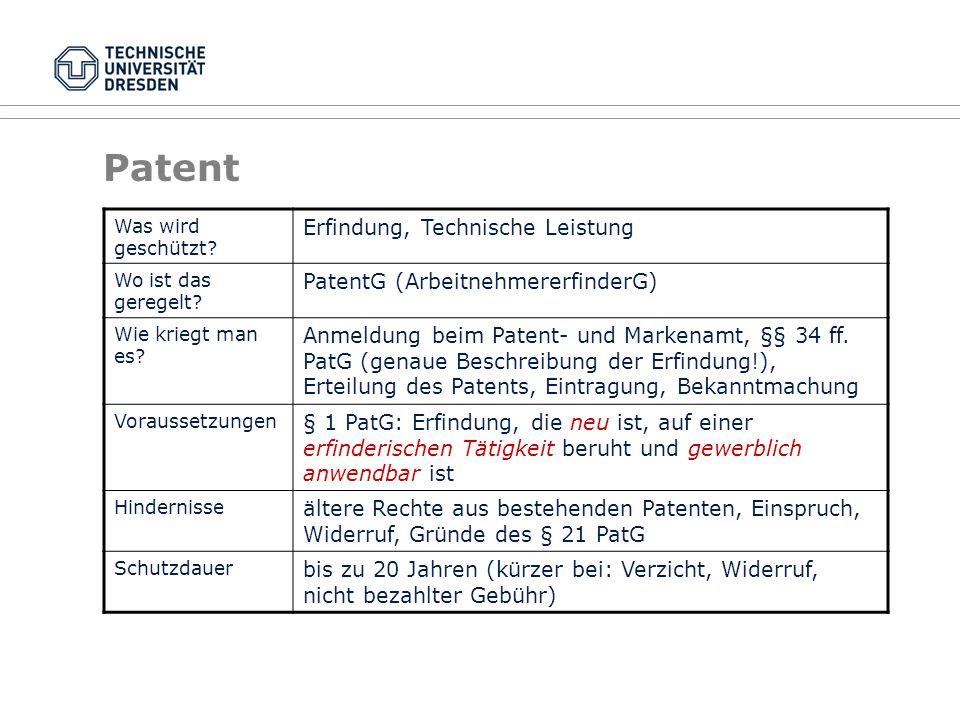 Patent Was wird geschützt? Erfindung, Technische Leistung Wo ist das geregelt? PatentG (ArbeitnehmererfinderG) Wie kriegt man es? Anmeldung beim Paten
