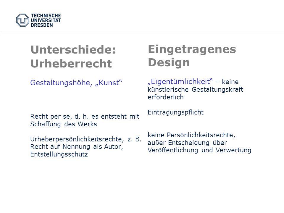 """Urheberrecht Gestaltungshöhe, """"Kunst"""" Recht per se, d. h. es entsteht mit Schaffung des Werks Urheberpersönlichkeitsrechte, z. B. Recht auf Nennung al"""