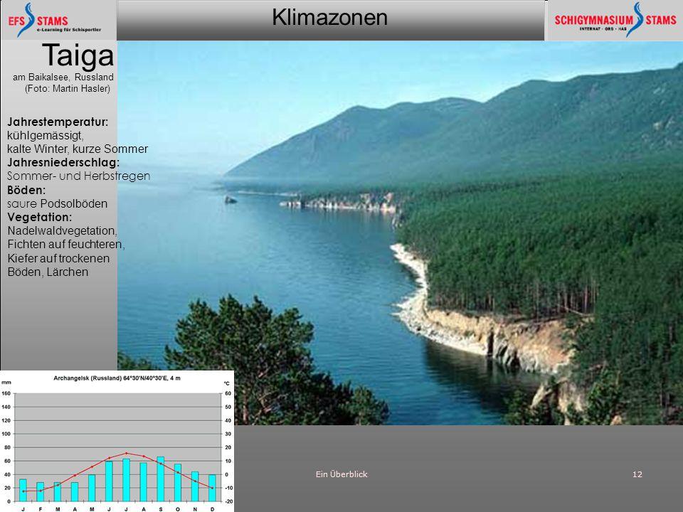 Klimazonen Ein Überblick12 Taiga am Baikalsee, Russland (Foto: Martin Hasler) Jahrestemperatur: kühlgemässigt, kalte Winter, kurze Sommer Jahresnieder