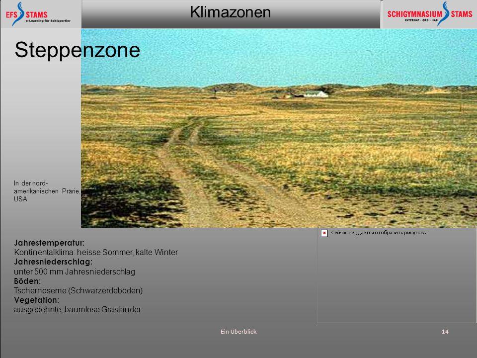 Klimazonen Ein Überblick15 Wüste Am Nordufer des kleinen Aralsees, Kasachstan Jahrestemperatur: Extremes Kontinentalklima, trocken, heisse Sommer, kalte Winter Jahresniederschlag: ~100 mm im Jahr, eher im Winter Böden: graubraune Wüstenböden Vegetation: keine zusammen- hängende Vege- tationsdecke, isolierte Büsche und Gräser