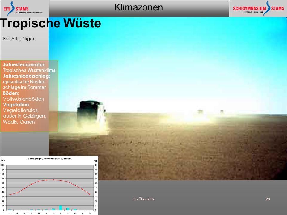 Klimazonen Ein Überblick20 Tropische Wüste Bei Arlit, Niger Jahrestemperatur: Tropisches Wüstenklima Jahresniederschlag: episodische Nieder- schläge i