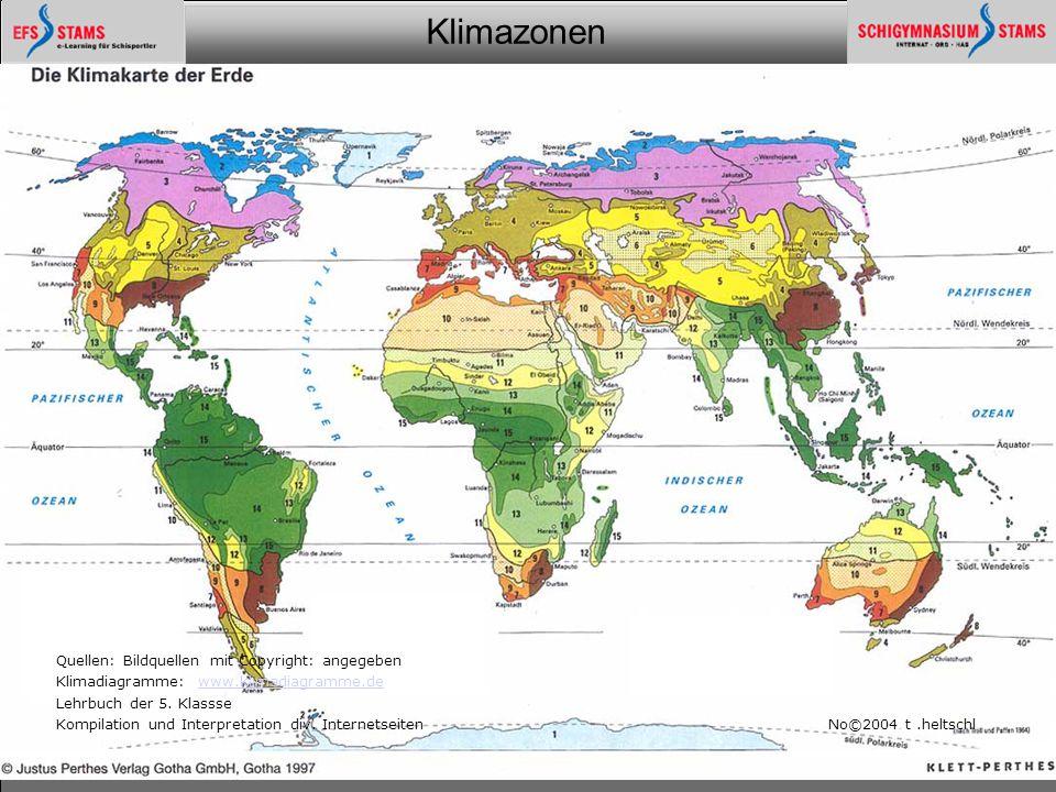Klimazonen Ein Überblick25 Quellen: Bildquellen mit Copyright: angegeben Klimadiagramme: www.klimadiagramme.dewww.klimadiagramme.de Lehrbuch der 5. Kl