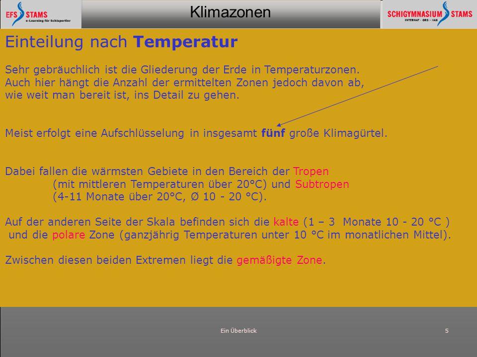 Klimazonen Ein Überblick5 Einteilung nach Temperatur Sehr gebräuchlich ist die Gliederung der Erde in Temperaturzonen. Auch hier hängt die Anzahl der
