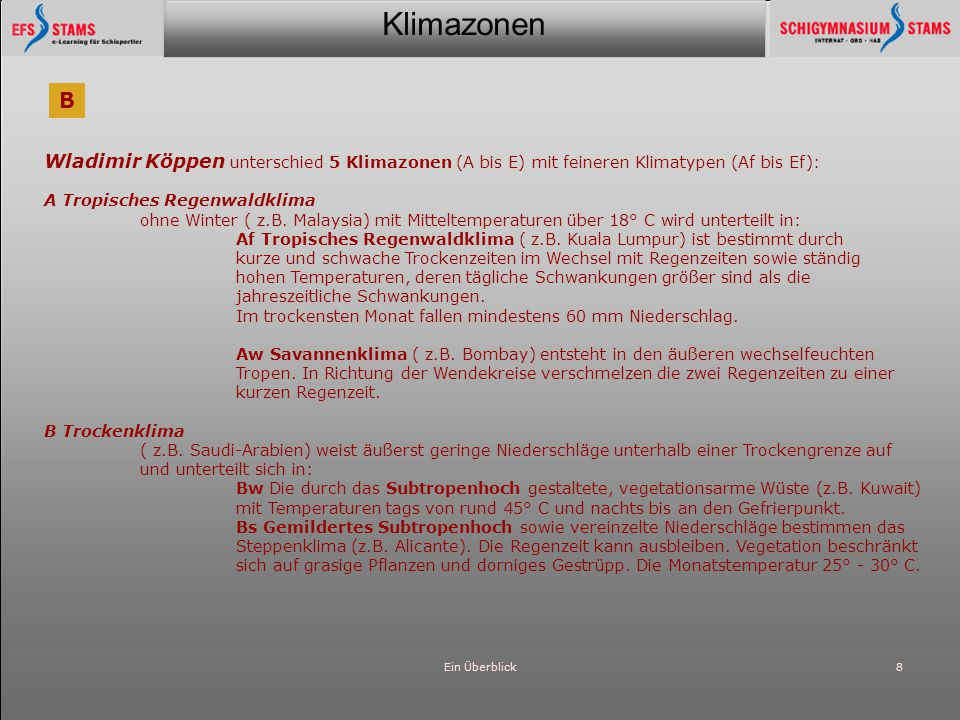 Klimazonen Ein Überblick8 Wladimir Köppen unterschied 5 Klimazonen (A bis E) mit feineren Klimatypen (Af bis Ef): A Tropisches Regenwaldklima ohne Win