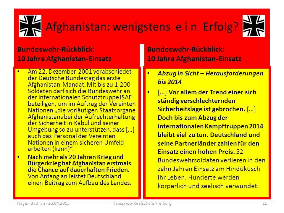 Afghanistan: wenigstens e i n Erfolg? Bundeswehr-Rückblick: 10 Jahre Afghanistan-Einsatz Am 22. Dezember 2001 verabschiedet der Deutsche Bundestag das