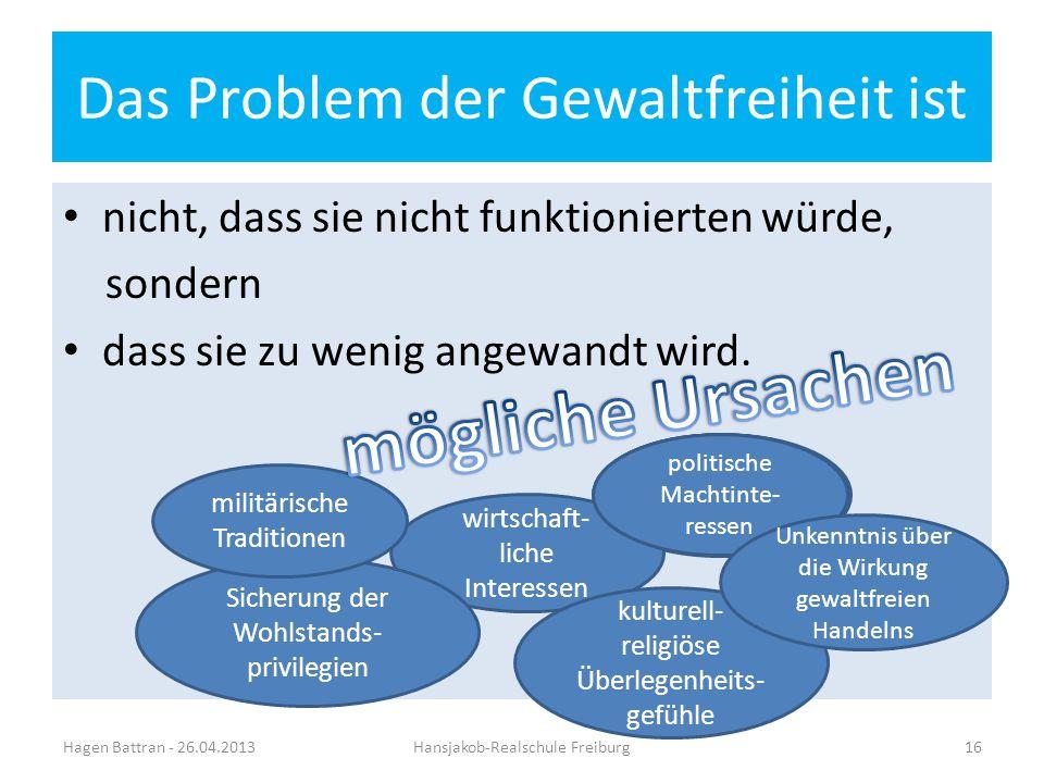 Das Problem der Gewaltfreiheit ist nicht, dass sie nicht funktionierten würde, sondern dass sie zu wenig angewandt wird. Hagen Battran - 26.04.2013Han