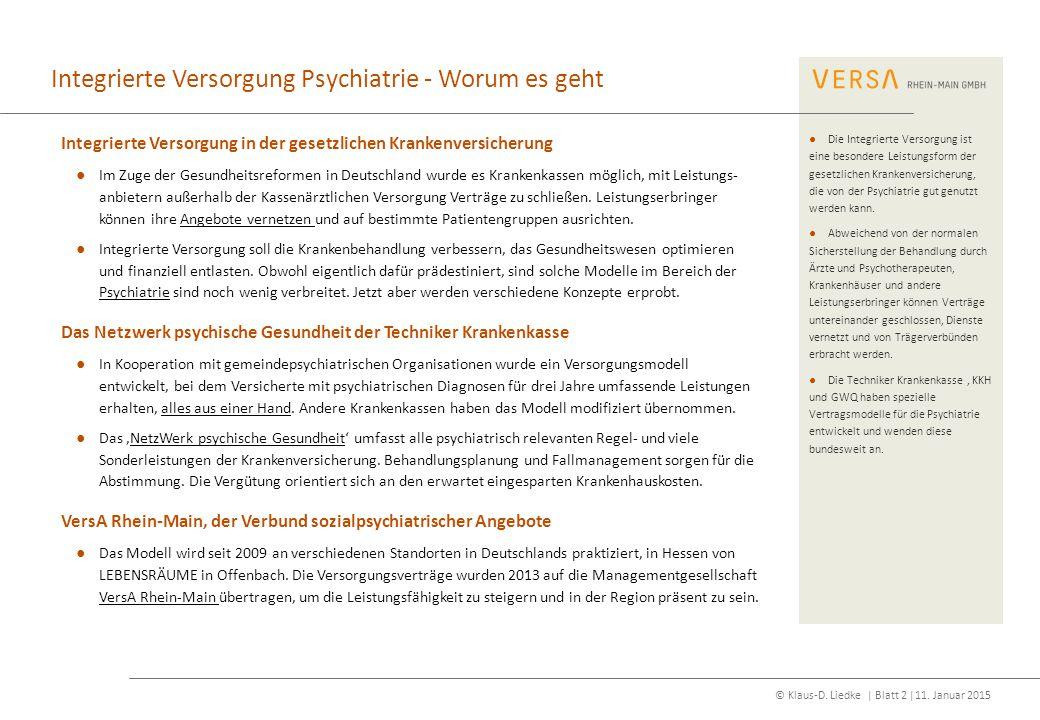 © Klaus-D. Liedke | Blatt 2 |11. Januar 2015 Integrierte Versorgung Psychiatrie - Worum es geht Integrierte Versorgung in der gesetzlichen Krankenvers
