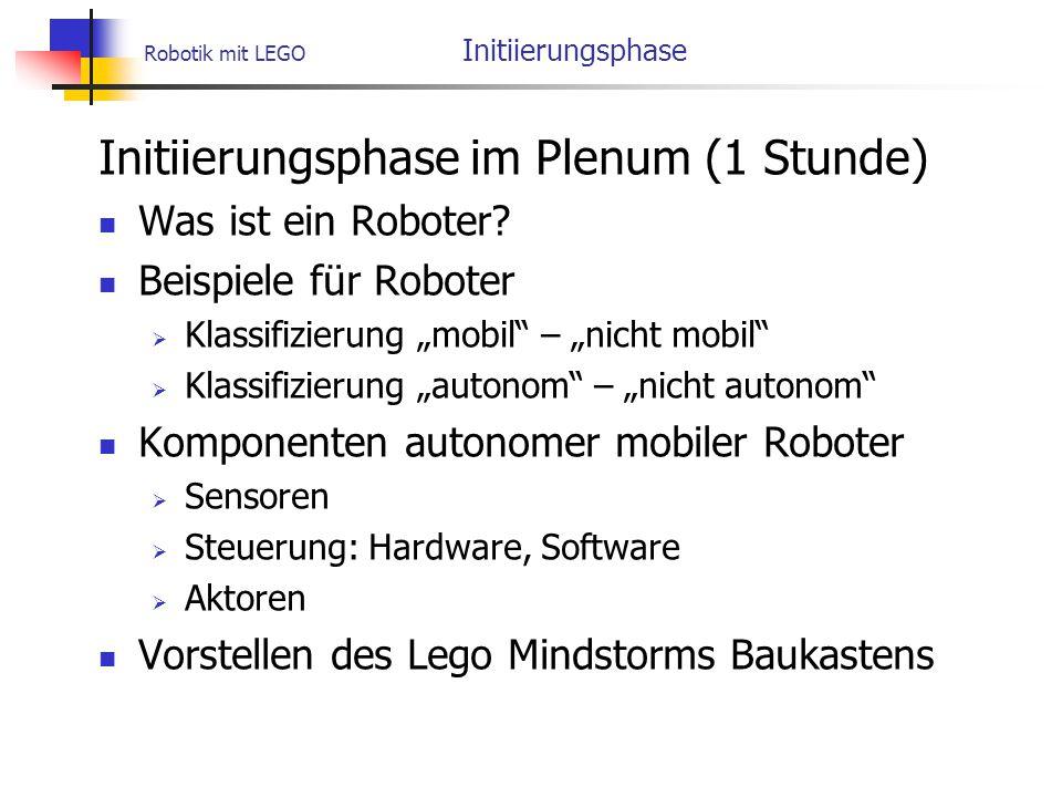 Robotik mit LEGO Initiierungsphase Initiierungsphase im Plenum (1 Stunde) Was ist ein Roboter.