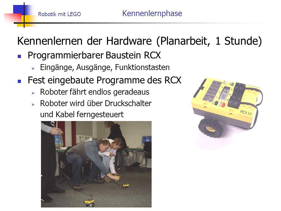 Robotik mit LEGO Kennenlernphase Kennenlernen der Hardware (Planarbeit, 1 Stunde) Programmierbarer Baustein RCX  Eingänge, Ausgänge, Funktionstasten Fest eingebaute Programme des RCX  Roboter fährt endlos geradeaus  Roboter wird über Druckschalter und Kabel ferngesteuert