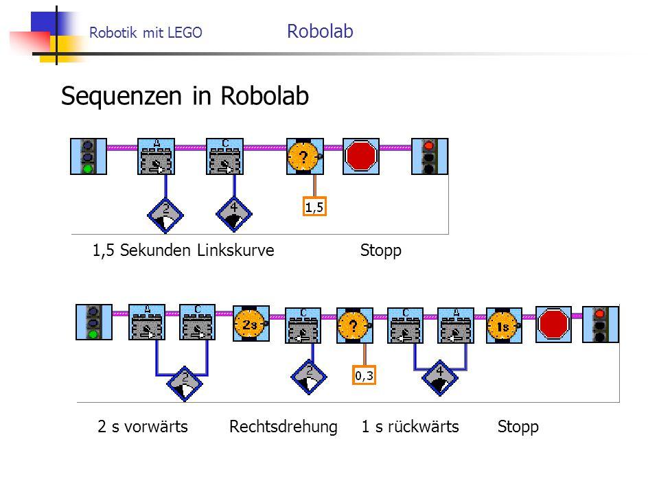 Robotik mit LEGO Robolab Sequenzen in Robolab 1,5 Sekunden Linkskurve Stopp 2 s vorwärts Rechtsdrehung 1 s rückwärts Stopp