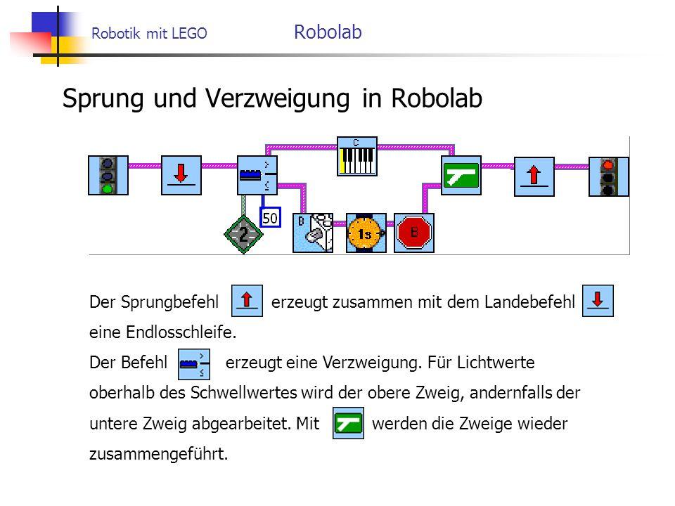Robotik mit LEGO Robolab Sprung und Verzweigung in Robolab Der Sprungbefehl erzeugt zusammen mit dem Landebefehl eine Endlosschleife.