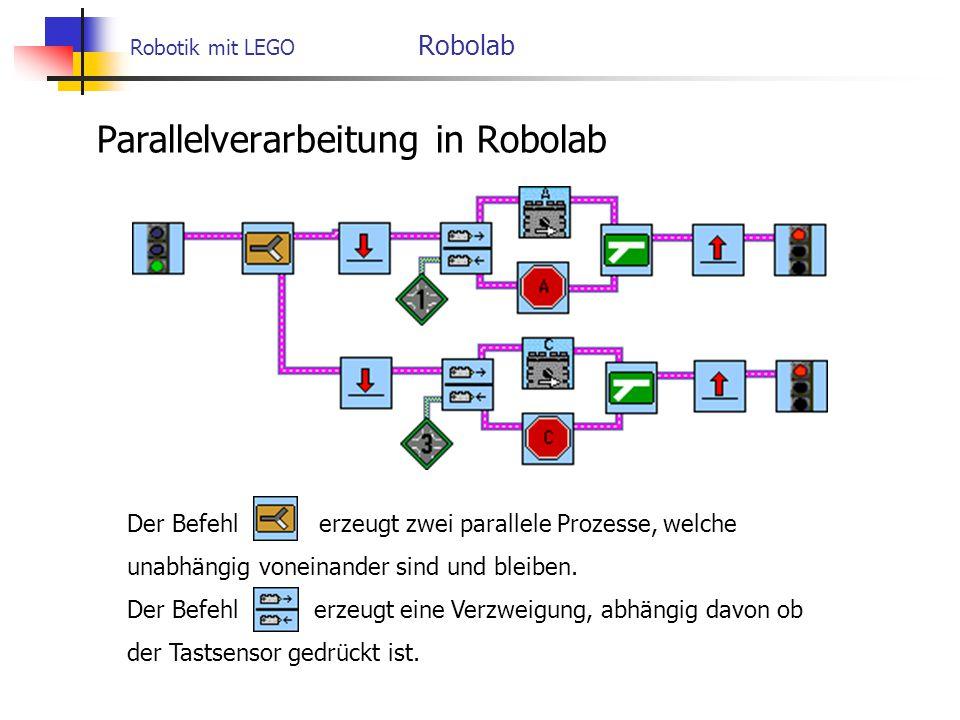 Robotik mit LEGO Robolab Parallelverarbeitung in Robolab Der Befehlerzeugt zwei parallele Prozesse, welche unabhängig voneinander sind und bleiben.