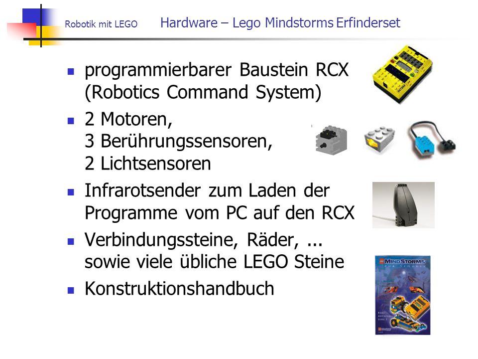 programmierbarer Baustein RCX (Robotics Command System) 2 Motoren, 3 Berührungssensoren, 2 Lichtsensoren Infrarotsender zum Laden der Programme vom PC auf den RCX Verbindungssteine, Räder,...