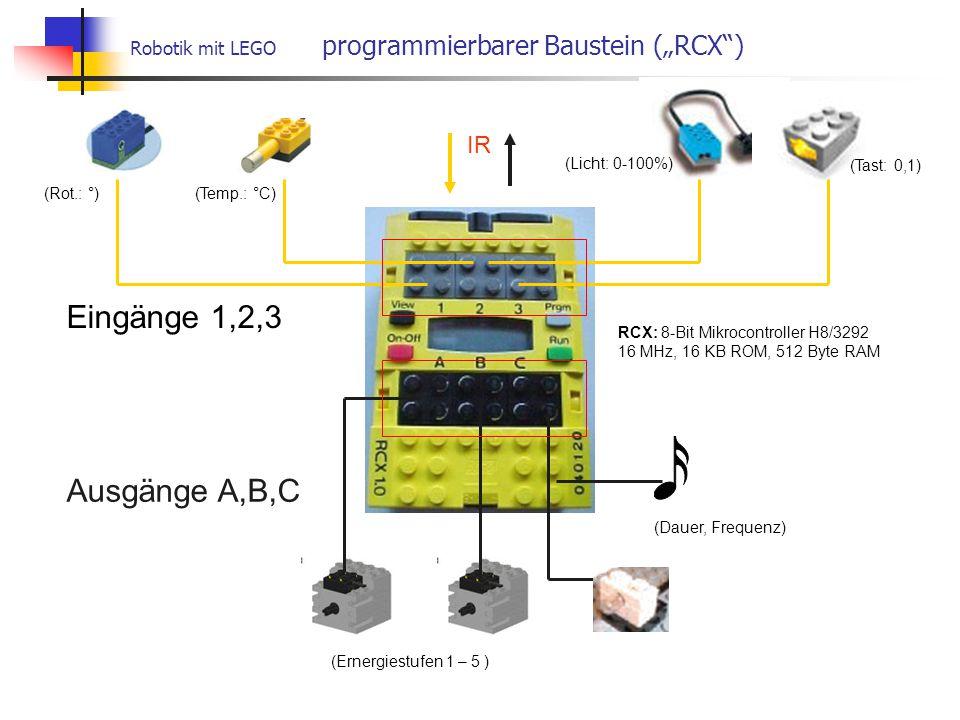 """Robotik mit LEGO programmierbarer Baustein (""""RCX ) Eingänge 1,2,3 Ausgänge A,B,C IR (Ernergiestufen 1 – 5 ) (Dauer, Frequenz) (Tast: 0,1) (Licht: 0-100%) (Temp.: °C) (Rot.: °) RCX: 8-Bit Mikrocontroller H8/3292 16 MHz, 16 KB ROM, 512 Byte RAM"""