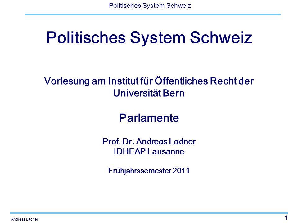 52 Politisches System Schweiz Andreas Ladner Miliz- oder Berufsparlament Faktischer Arbeitsaufwand: ca.