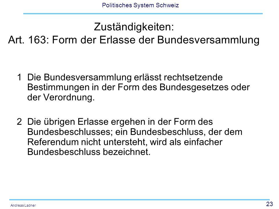 23 Politisches System Schweiz Andreas Ladner Zuständigkeiten: Art.
