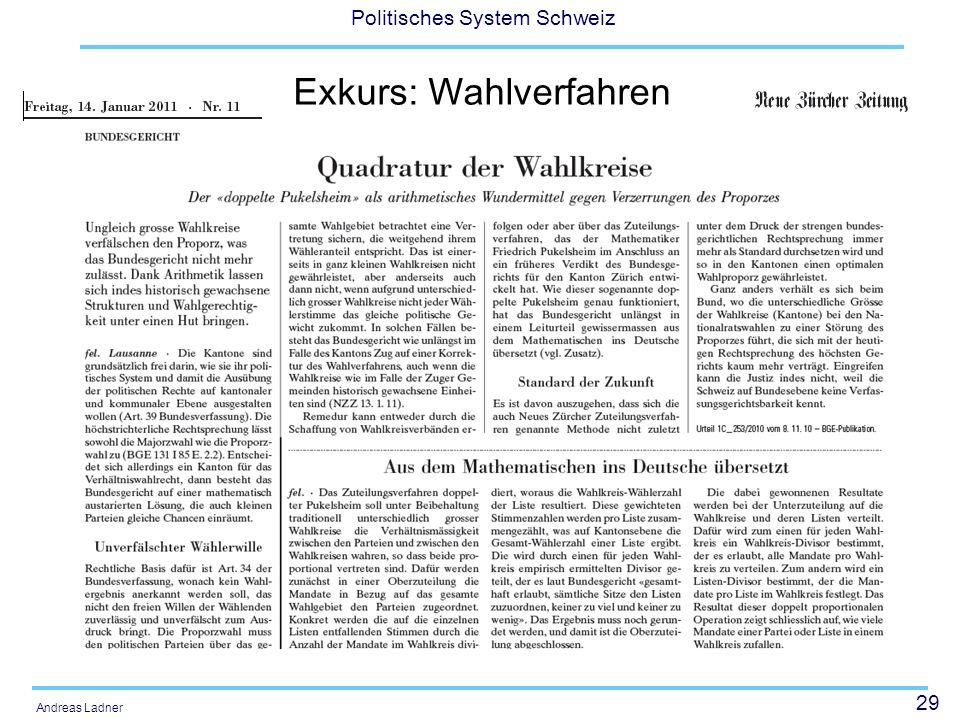 29 Politisches System Schweiz Andreas Ladner Exkurs: Wahlverfahren