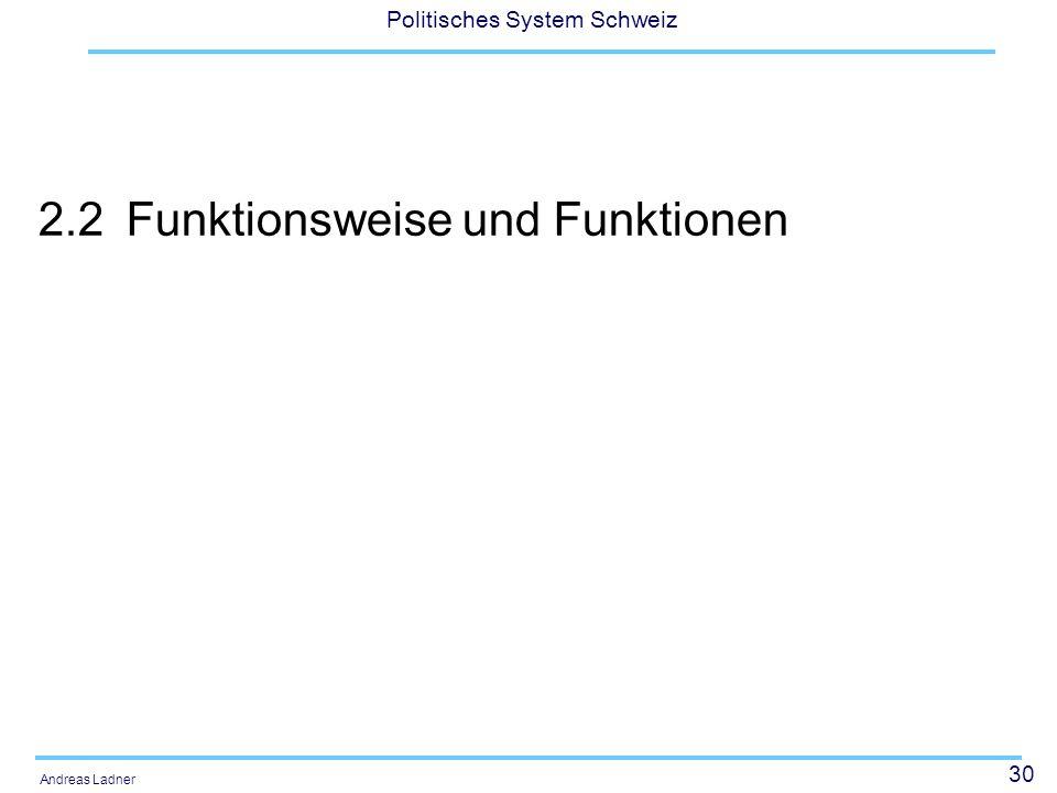 30 Politisches System Schweiz Andreas Ladner 2.2Funktionsweise und Funktionen
