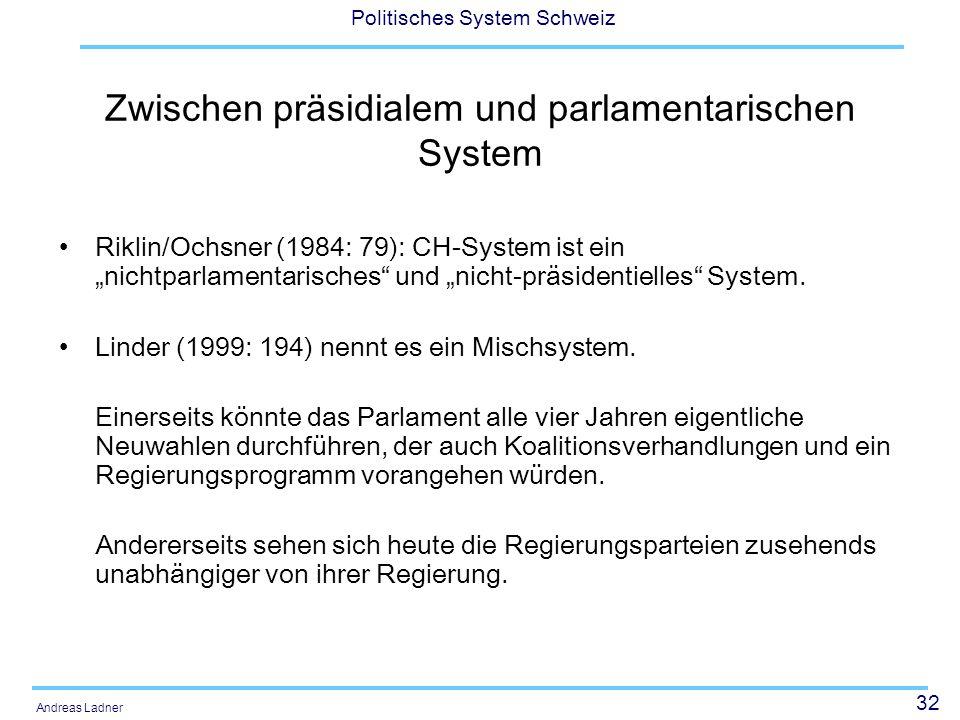 """32 Politisches System Schweiz Andreas Ladner Zwischen präsidialem und parlamentarischen System Riklin/Ochsner (1984: 79): CH-System ist ein """"nichtparlamentarisches und """"nicht-präsidentielles System."""