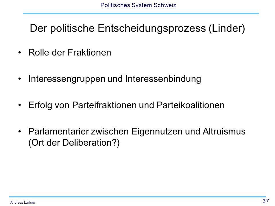 37 Politisches System Schweiz Andreas Ladner Der politische Entscheidungsprozess (Linder) Rolle der Fraktionen Interessengruppen und Interessenbindung Erfolg von Parteifraktionen und Parteikoalitionen Parlamentarier zwischen Eigennutzen und Altruismus (Ort der Deliberation )