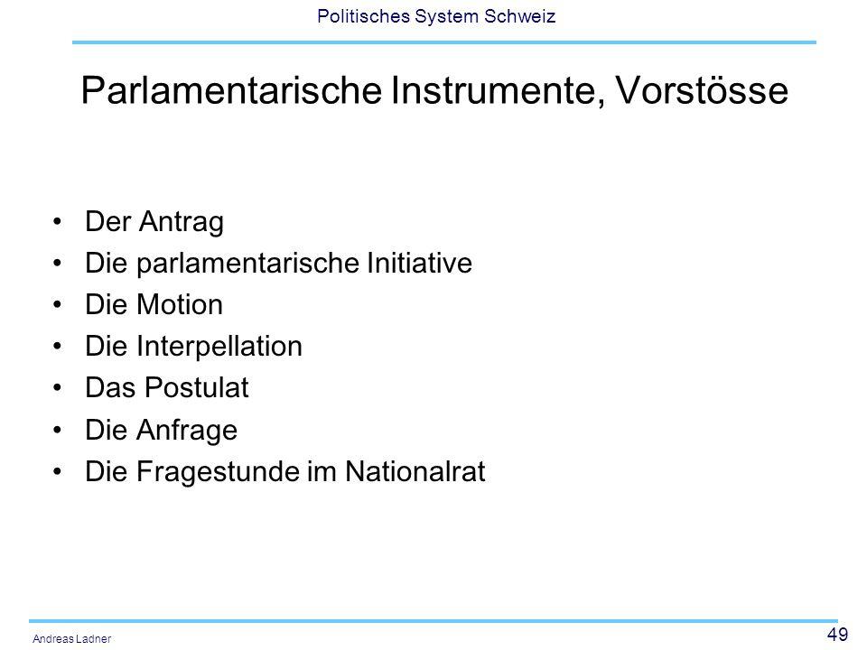 49 Politisches System Schweiz Andreas Ladner Parlamentarische Instrumente, Vorstösse Der Antrag Die parlamentarische Initiative Die Motion Die Interpellation Das Postulat Die Anfrage Die Fragestunde im Nationalrat