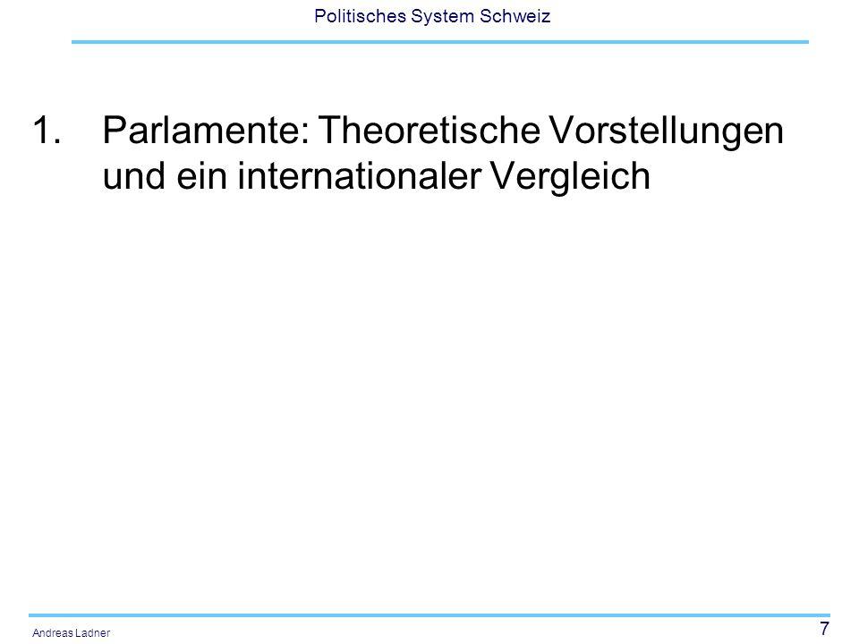 """38 Politisches System Schweiz Andreas Ladner """"Arbeits- und Redeparlamente Das Englische Parlament, wo die Plenardebatten im Vordergrund stehen, wird in der Literatur als Redeparlament bezeichnet."""