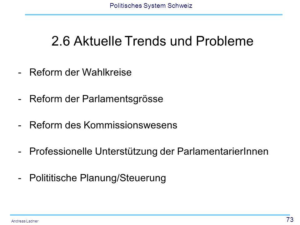 73 Politisches System Schweiz Andreas Ladner 2.6 Aktuelle Trends und Probleme -Reform der Wahlkreise -Reform der Parlamentsgrösse -Reform des Kommissionswesens -Professionelle Unterstützung der ParlamentarierInnen -Polititische Planung/Steuerung