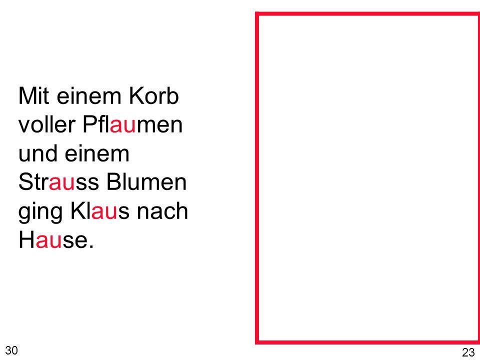 Mit einem Korb voller Pflaumen und einem Strauss Blumen ging Klaus nach Hause. 30 23