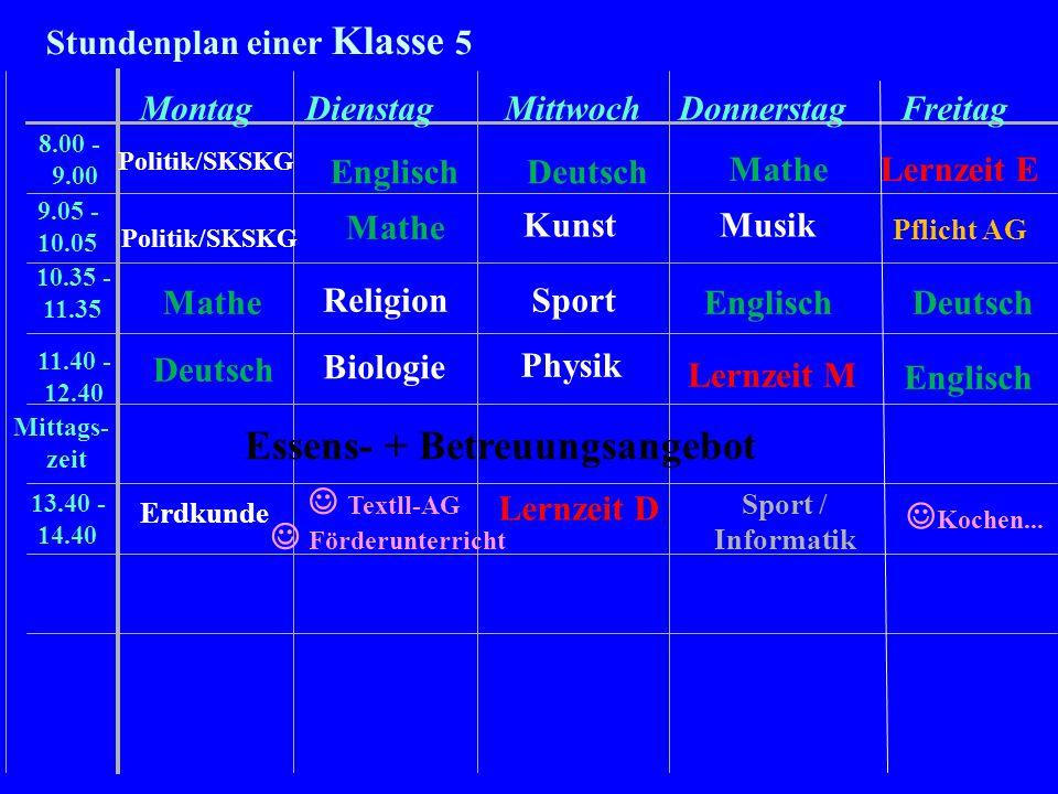 Stundenplan einer Klasse 5 MontagDienstagMittwochDonnerstagFreitag 8.00 - 9.00 9.05 - 10.05 10.35 - 11.35 11.40 - 12.40 Mittags- zeit 13.40 - 14.40 Po