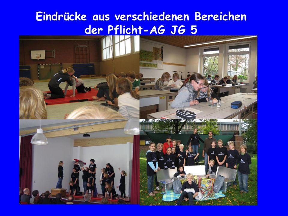 Eindrücke aus verschiedenen Bereichen der Pflicht-AG JG 5