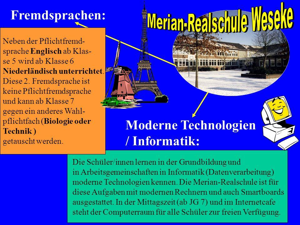 Neben der Pflichtfremd- sprache Englisch ab Klas- se 5 wird ab Klasse 6 Niederländisch unterrichtet. Diese 2. Fremdsprache ist keine Pflichtfremdsprac