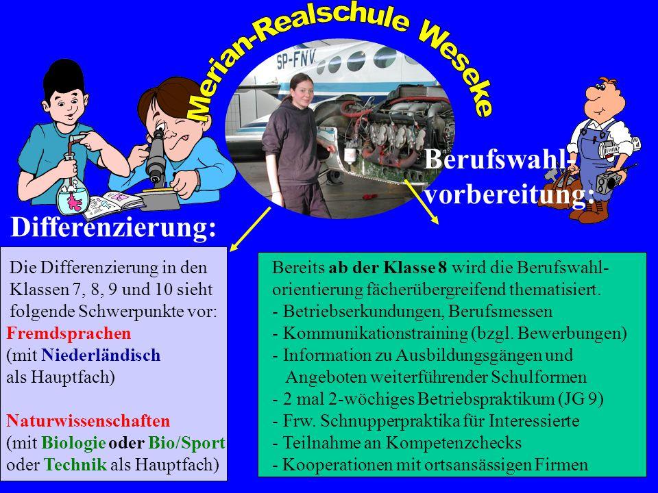 Die Differenzierung in den Klassen 7, 8, 9 und 10 sieht folgende Schwerpunkte vor: Fremdsprachen (mit Niederländisch als Hauptfach) Naturwissenschafte