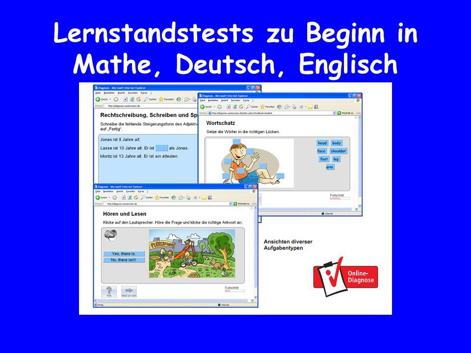 Lernstandstests zu Beginn in Mathe, Deutsch, Englisch