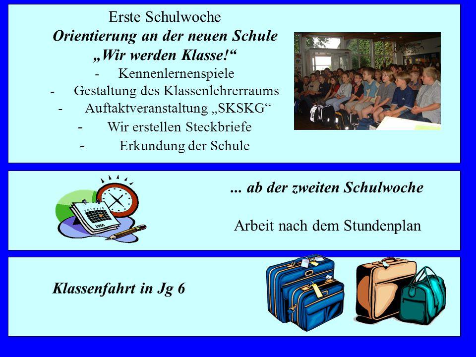 """Erste Schulwoche Orientierung an der neuen Schule """"Wir werden Klasse!"""" -Kennenlernenspiele -Gestaltung des Klassenlehrerraums - Auftaktveranstaltung """""""