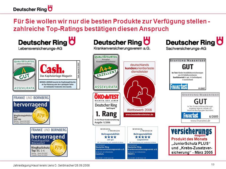19 Jahrestagung HausVerein/ Jens O. Geldmacher/ 26.09.2008 Für Sie wollen wir nur die besten Produkte zur Verfügung stellen - zahlreiche Top-Ratings b